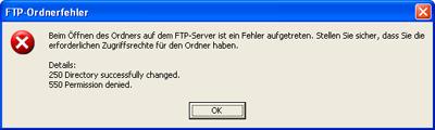 Zum Löschen von Dateien braucht das verwendete Zugangskonto die passenden Rechte auf dem Server.