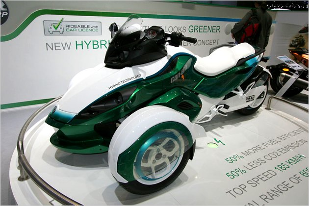 brp can am spyder roadster dreirad mit plug in hybrid heise autos. Black Bedroom Furniture Sets. Home Design Ideas