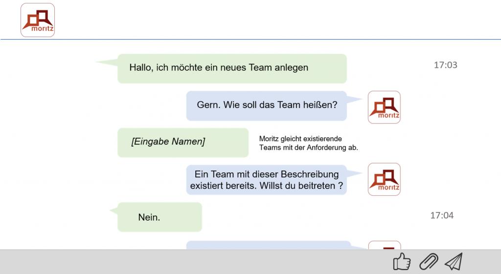 Chatdialog mit Bot Moritz zur Anlage eines neues Teams