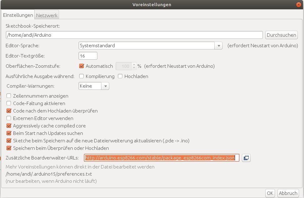 Arduino IDE installieren und fit machen für ESP8266 und
