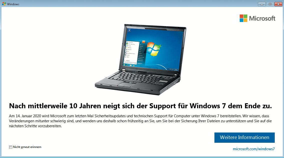 Windows 7 Am Ende