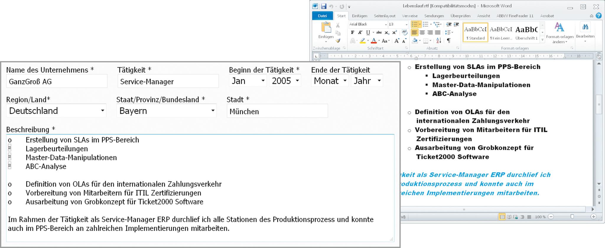 aufwendige formatierungen werden in formularen herausgefiltert - Bewerbung Online