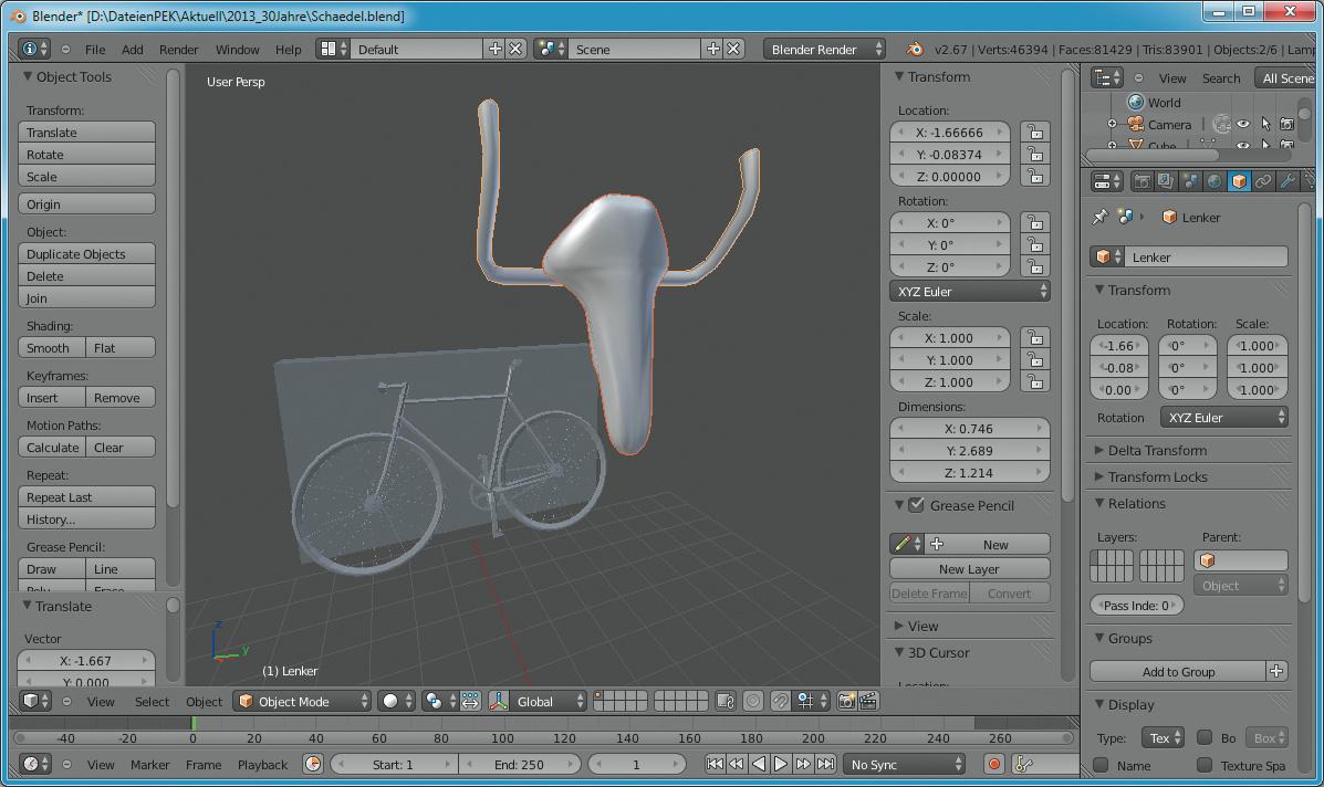 Attractive Ein Fahrradmodell Des BlendSwap Users Ruff Lieferte Das Material Für Dieses  3D Remake Des Stierschädels Von Picasso, In Blender Aus Lenker Und Sattel  ...