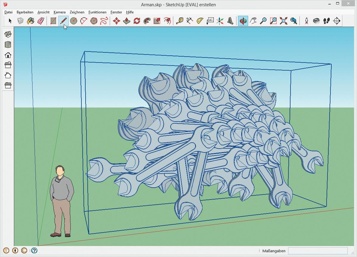 Die 3D Galerie Lieferte Das Urmodell Des Schraubenschlüssels Frei Haus In  Den Bauraum Von SketchUp, Wo Er Zu Einer Hommage An Den  Akkumulationskünstler ...