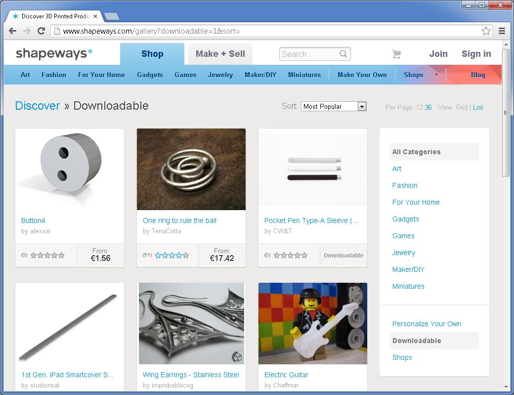 Auch Beim 3D Druck Webdienst Shapeways Gibt Es Eine Eigene Kategorie Für 3D Objekte,  Zu Denen Man Die Vorlagendateien Herunterladen Kann.