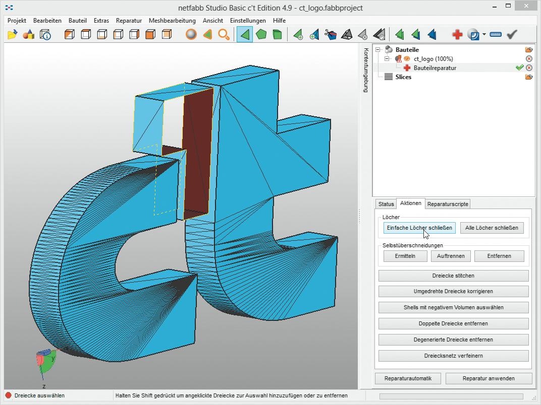 Die Kostenlose Version Von Netfabb Findet Und Schließt Löcher Im  Oberflächennetz Und Bringt 3D Objekte Zur Druckreife. Bei Der Software  Haben Sie Freie ...