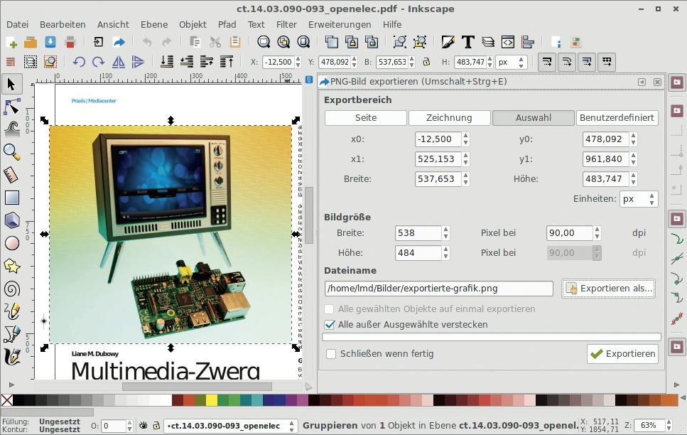 Inkscape Grafiken Aus Pdf Dokumenten Exportieren C 39 T