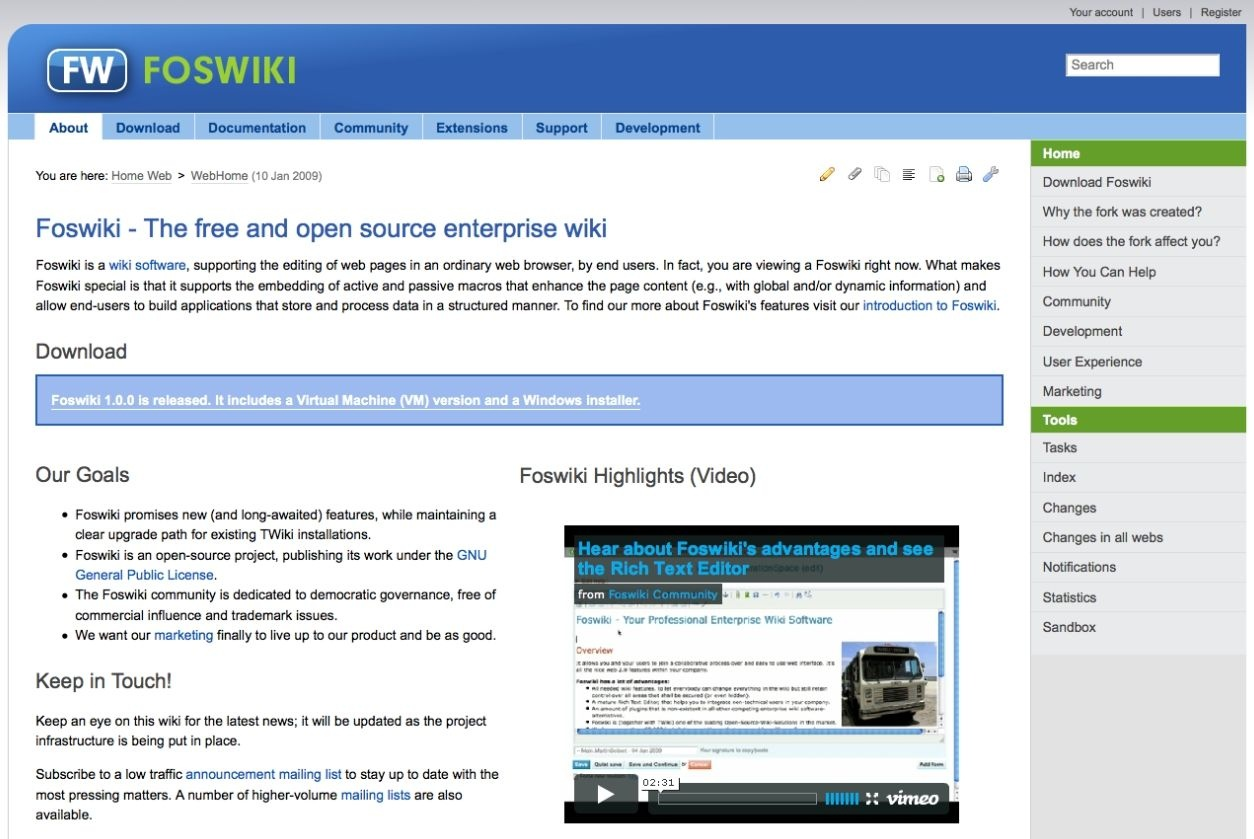 Foswiki Free Open Source Wiki Heise Download