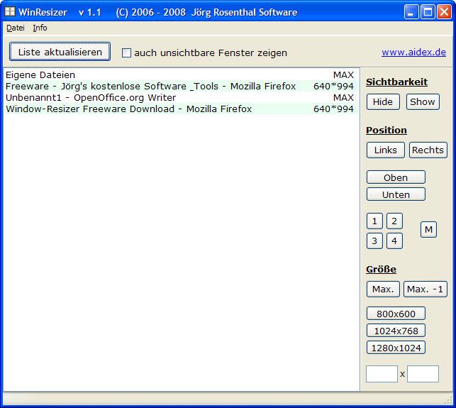 Window resizer winresizer heise download for Fenster immer im vordergrund