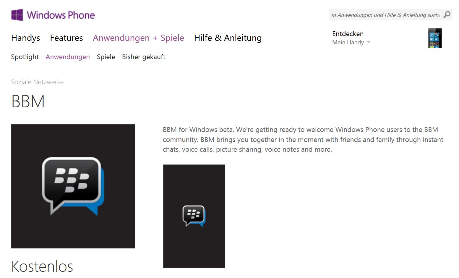 blackberry messenger kommt auch f r windows phone heise online. Black Bedroom Furniture Sets. Home Design Ideas