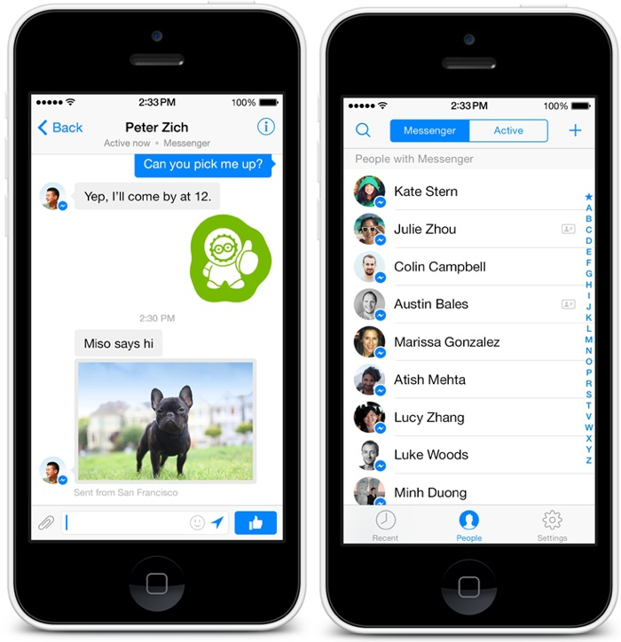 Gefilterte Nachrichten Facebook App