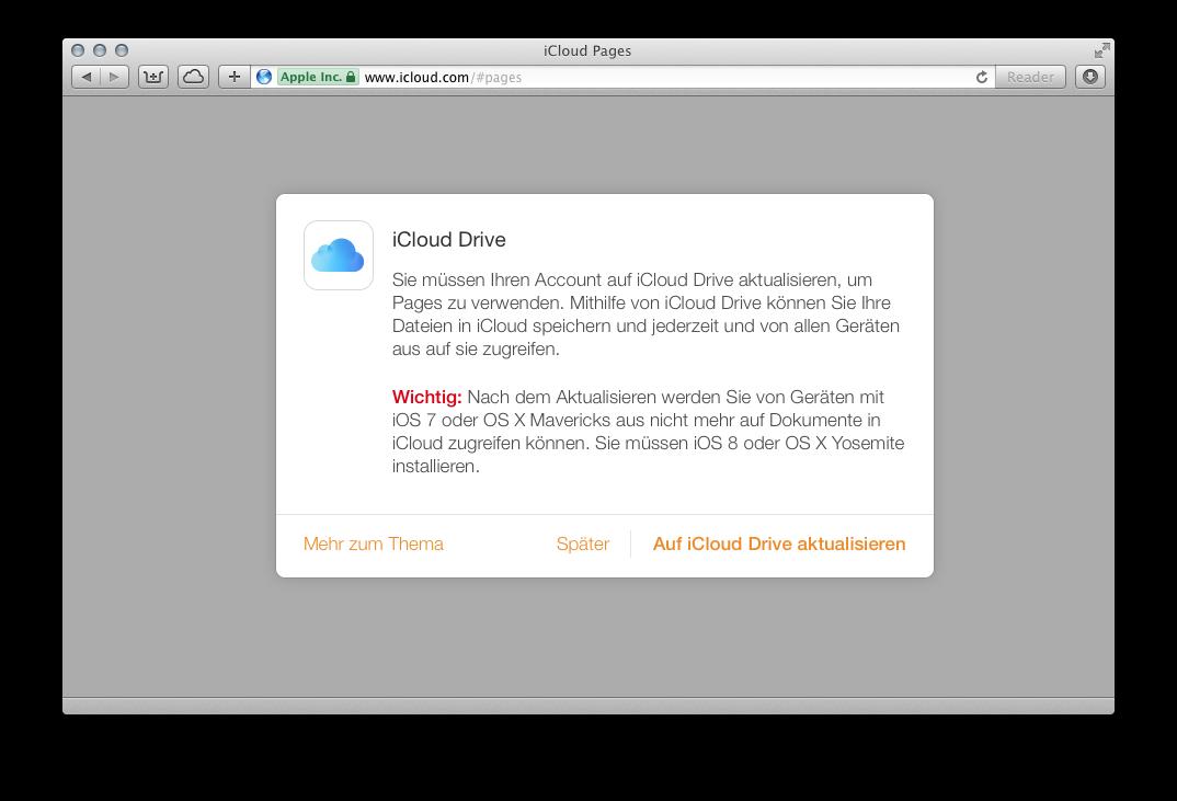 Bild zu ««iWork for iCloud» setzt nun «iCloud Drive» voraus»