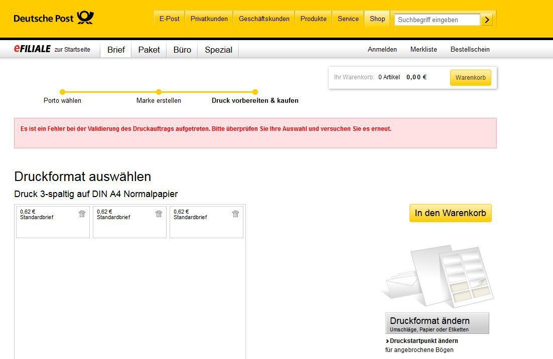deutsche post st rung beim kauf von internetmarken heise online. Black Bedroom Furniture Sets. Home Design Ideas