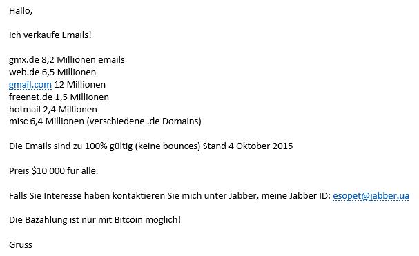 Verkauf Von Email Adressen