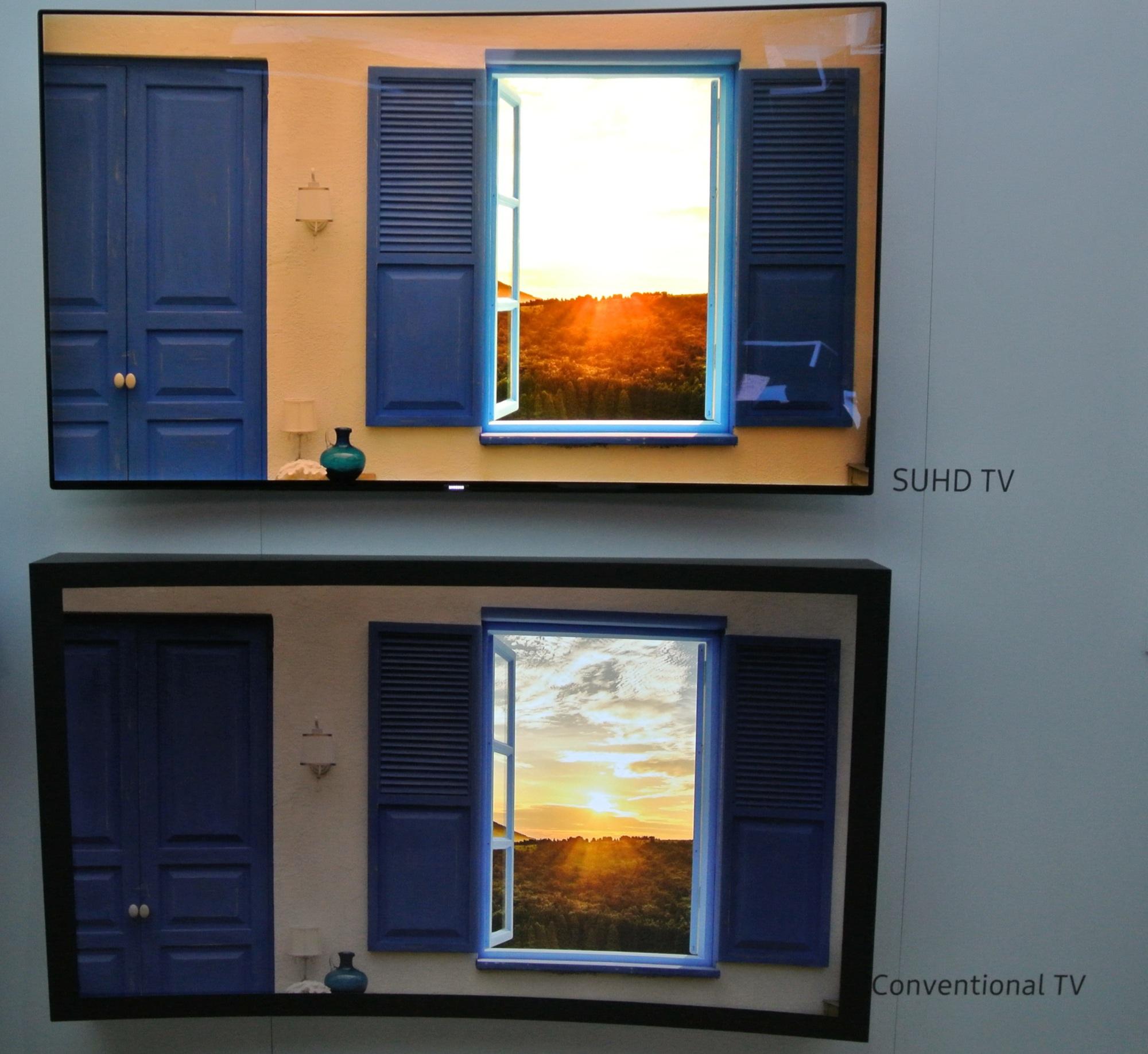 ces 2016 samsungs suhd fernseher mit hdr und quantum dots heise online. Black Bedroom Furniture Sets. Home Design Ideas
