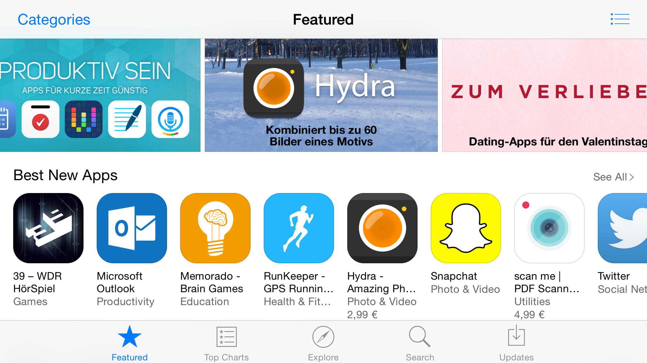IOS Tipp App Store Frisch Laden