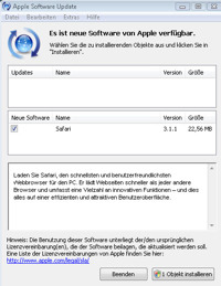 Der Update-Dialalog unter Windows Vista