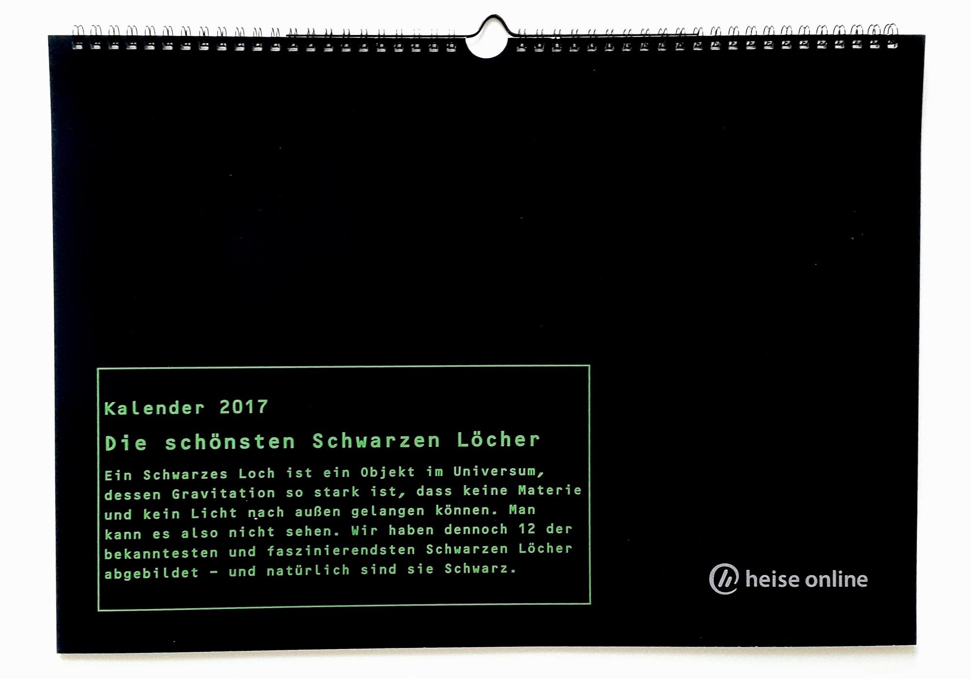 kalender 2017 mit 12 schwarzen l chern heise online. Black Bedroom Furniture Sets. Home Design Ideas