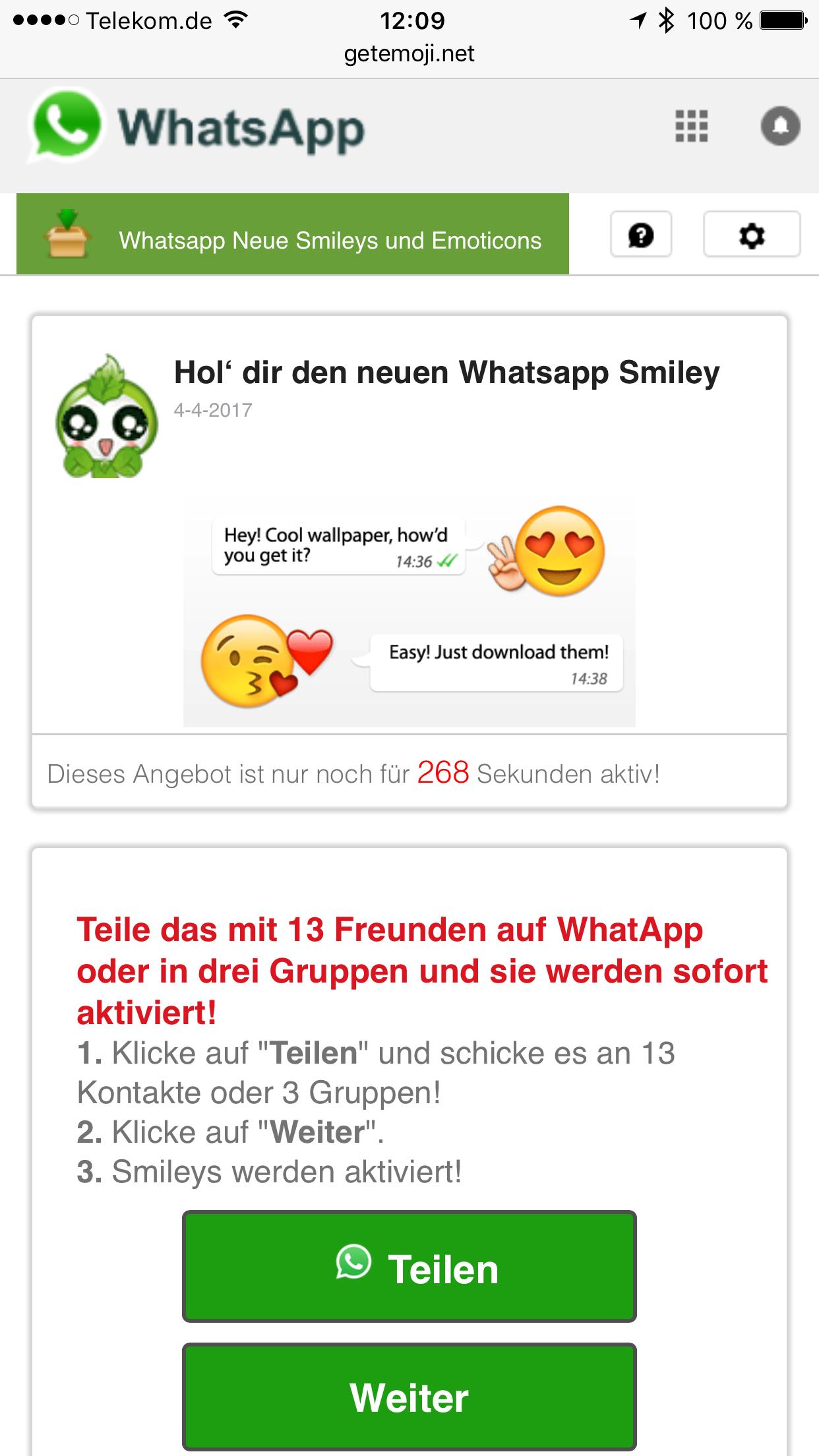 Whatsapp Kettenbrief Bewegliche Emojis Locken In Abofalle