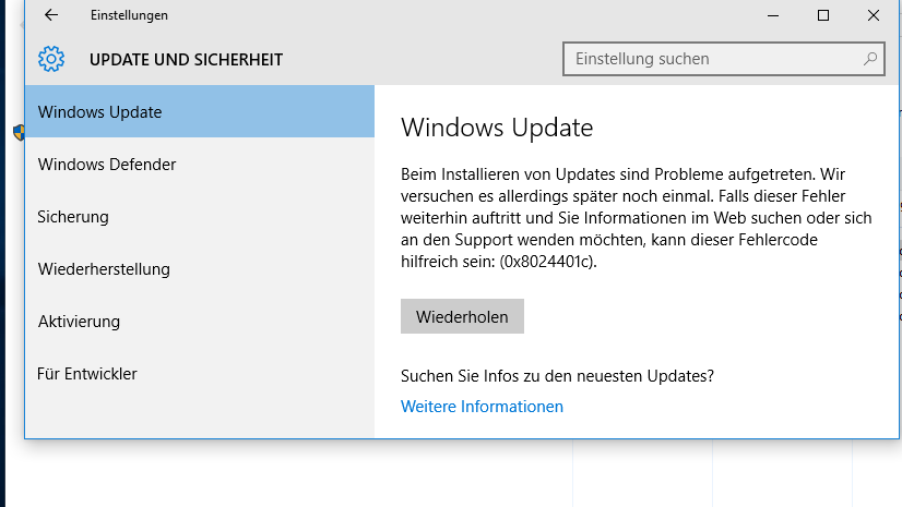 windows 10 update probleme nach august update heise online. Black Bedroom Furniture Sets. Home Design Ideas