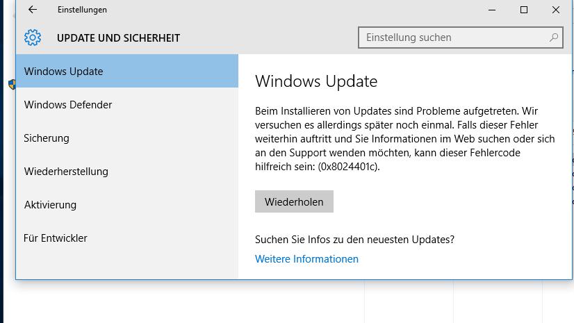 windows 10 update probleme nach august update heise online. Black Bedroom Furniture Sets. Home Design Ideas