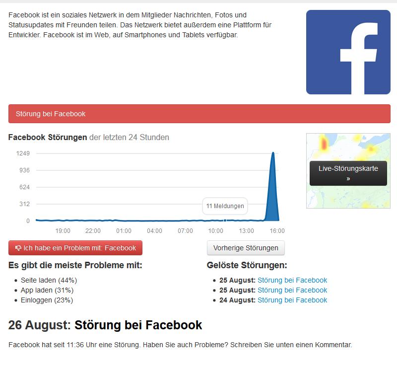 Facebook Wartungsarbeiten
