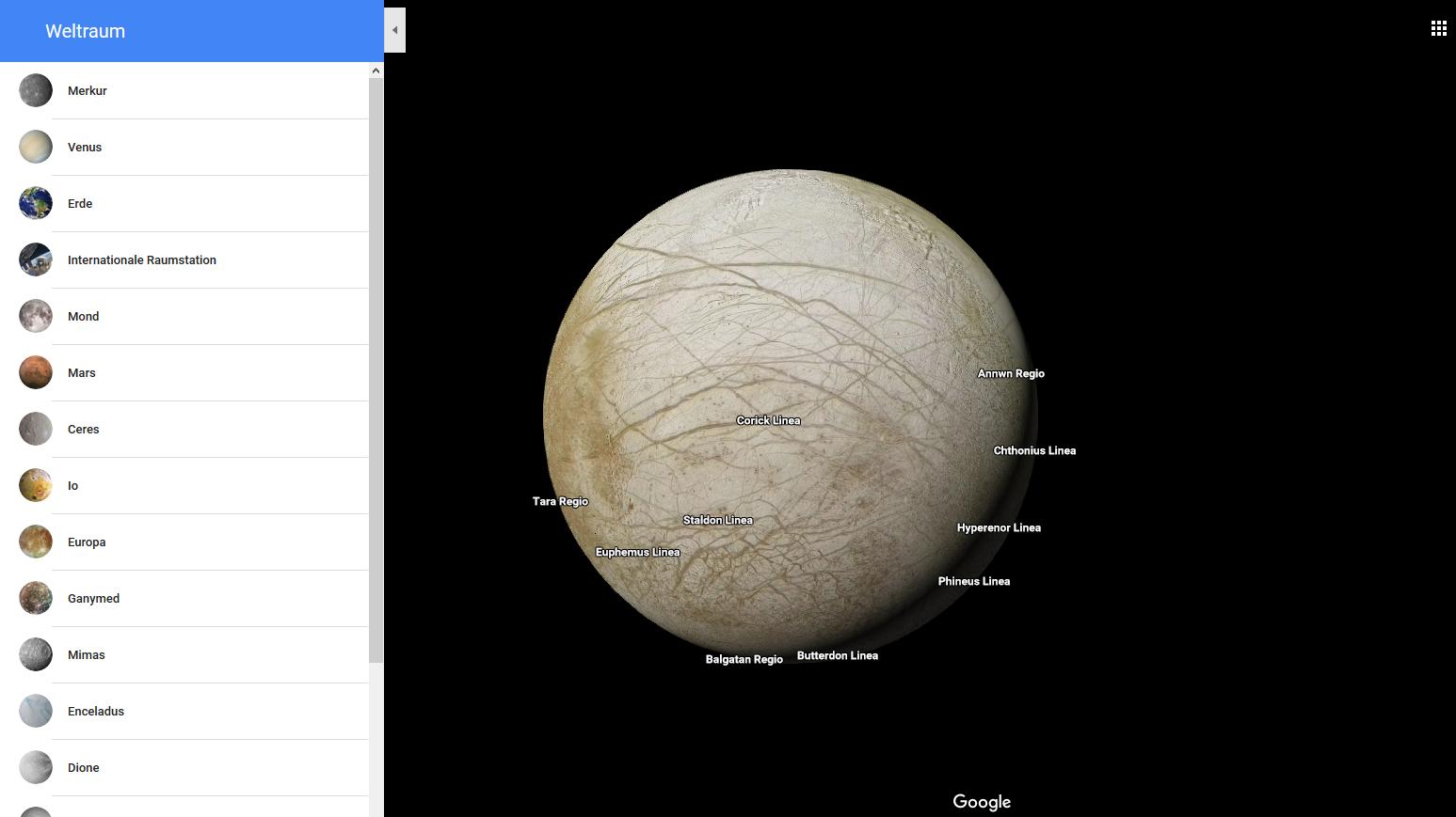 google maps kennt jetzt auch planeten und monde im. Black Bedroom Furniture Sets. Home Design Ideas