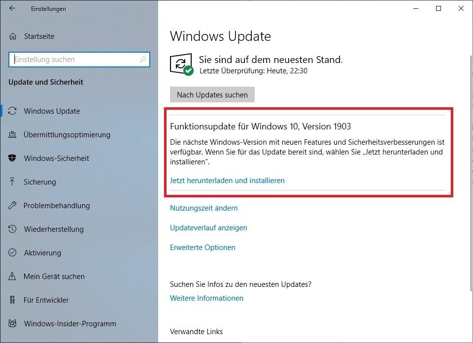 Windows 10 Mai 2019 Update (Version 1903) jetzt allgemein