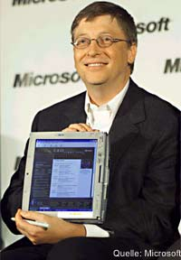 Bill Gates mit Tablet PC