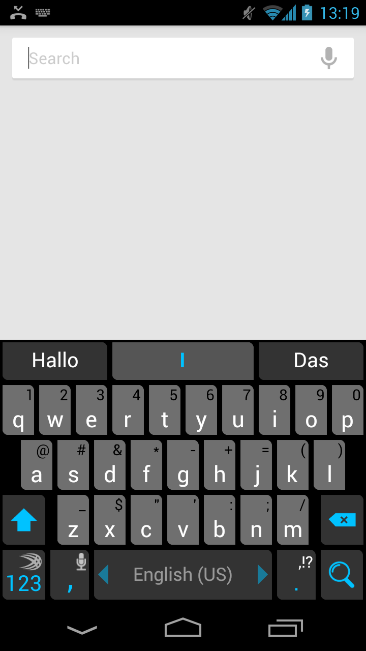 Galaxy Nexus Such-Oberfläche