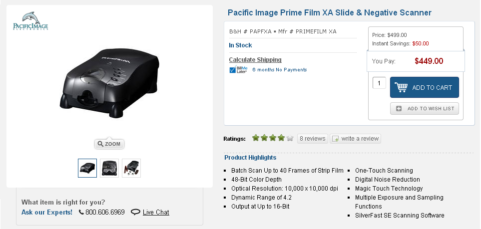 Pacific Image Electronics Prime Film Xa Slide Negative Scanner 3
