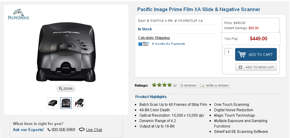 Pacific Image Electronics Prime Film Xa Slide Negative Scanner